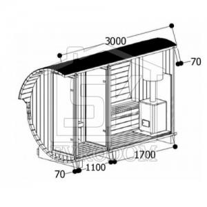 Баня-бочка 3,  0 м.   Ø 2.  1